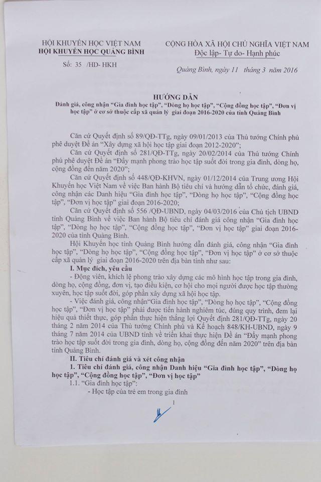 Hướng dẫn số 35/HD-HKH ngày 11/3/2016 của Hội Khuyến học Quảng Bình.